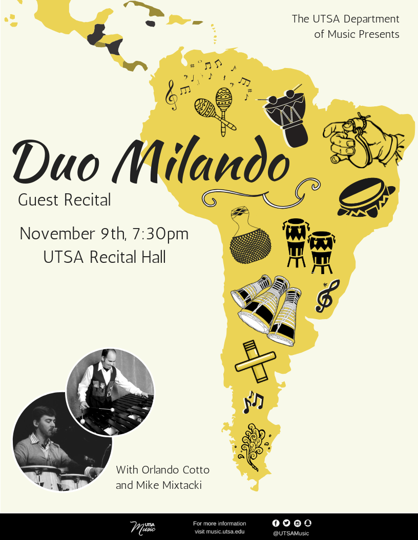 Duo Milando Friday, November 9, 2018 at 7:30pm  Location: Recital Hall